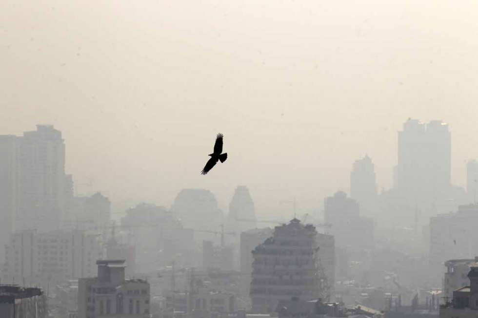 The polluted skyline of Tehran. January, 2013.