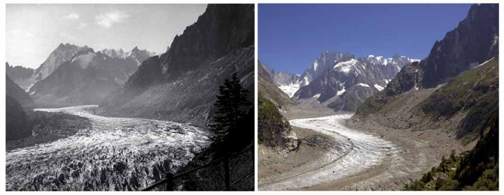 The 'Mer de Glace' glacier on France's Mont Blanc in the 1940s