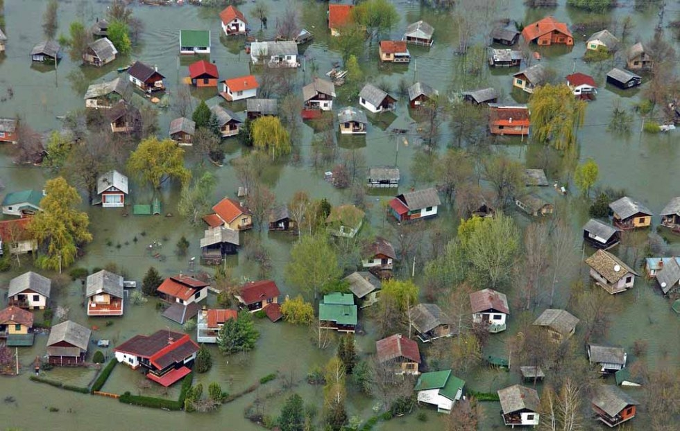 The flooded Serbian town of Beocin. April, 2006.