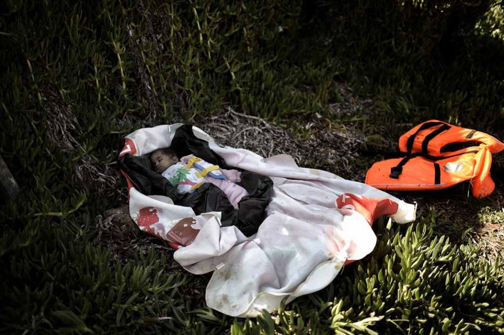 The body of a baby that washed up on Lesbos's shores.