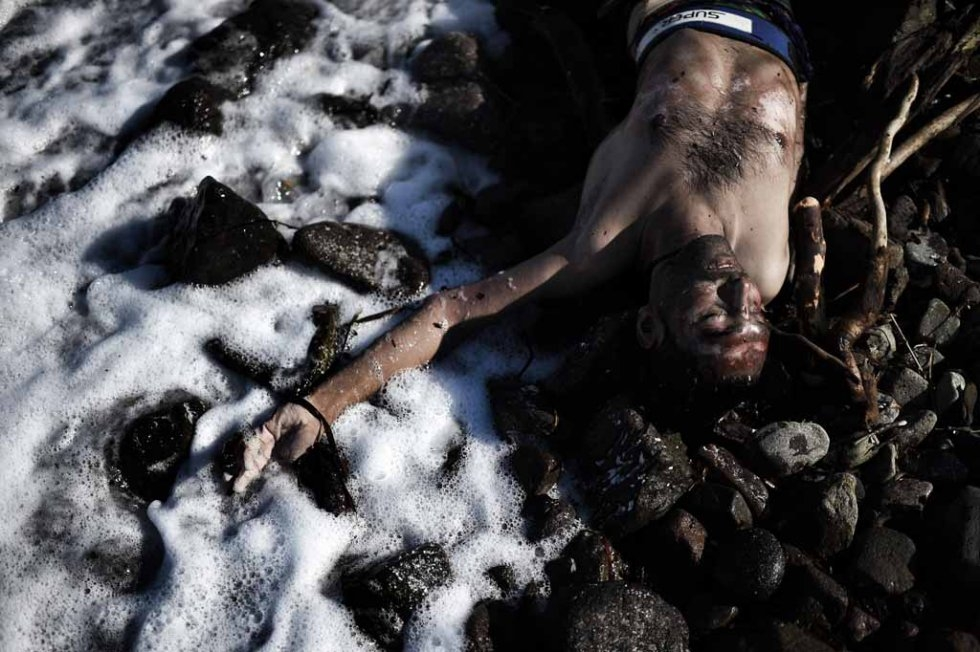 The body of a man who washed up on Lesbos in late October.