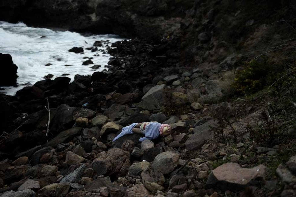 The body of a drowned baby lies on Lesbos's beach in early November.