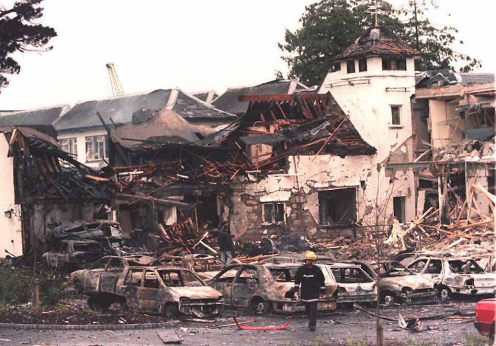 Remains of a hotel in Ulster in July, 1996, the first bombing in Northern Ireland since the IRA ceasefire two years prior.