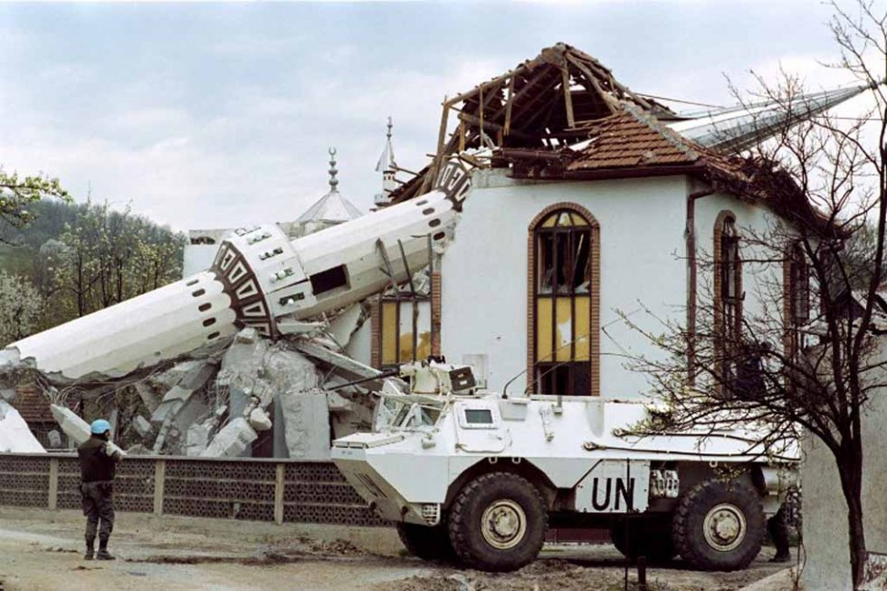 A destroyed mosque in Ahinici, northwest of Sarajevo, in April, 1993.