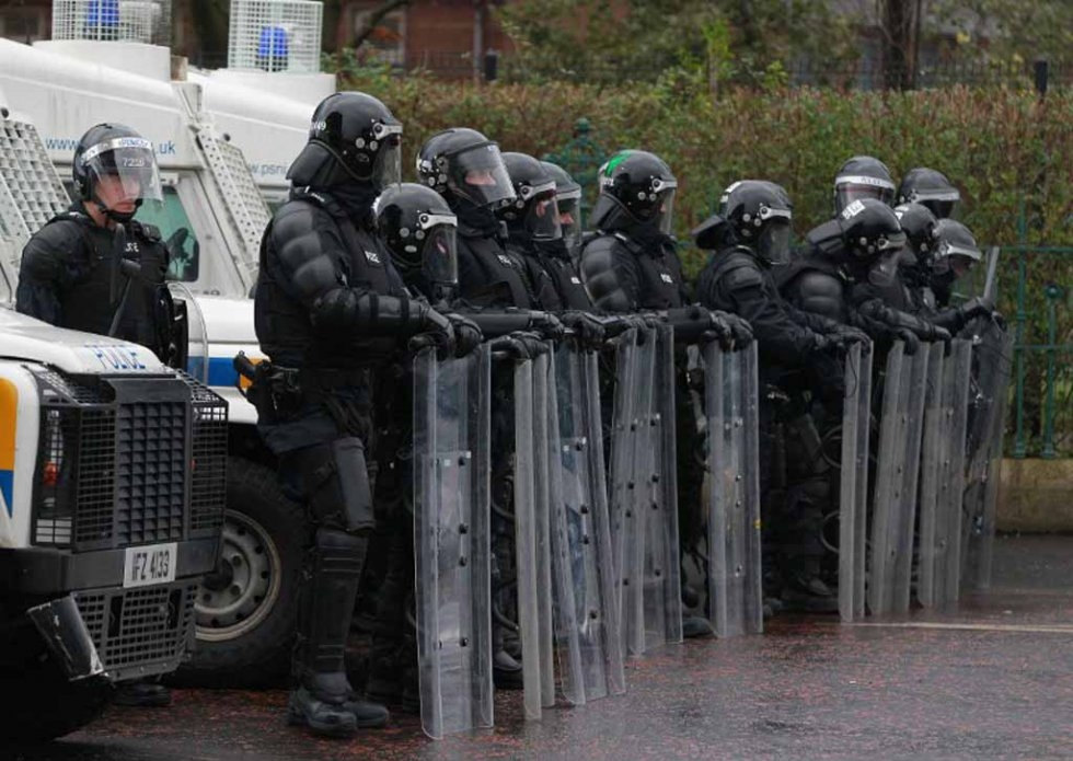 Riot police in Belfast, January, 2013.