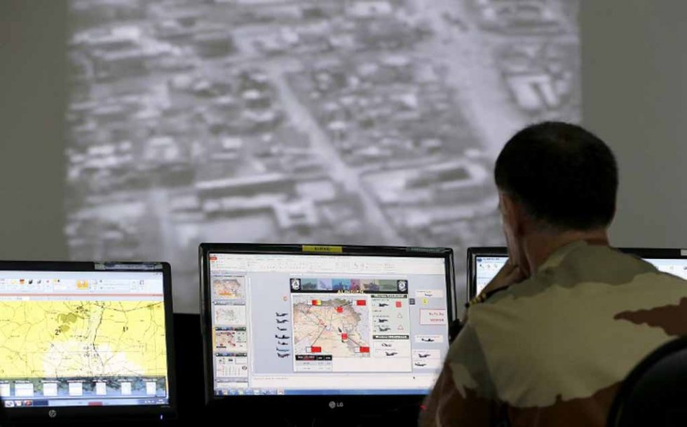 Control room at a French military base in the Gulf, as operations against Islamic State in Syria and Iraq are underway.