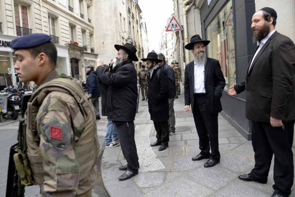 French security forces patrol the Jewish quarter in Paris following Islamist attacks in January.