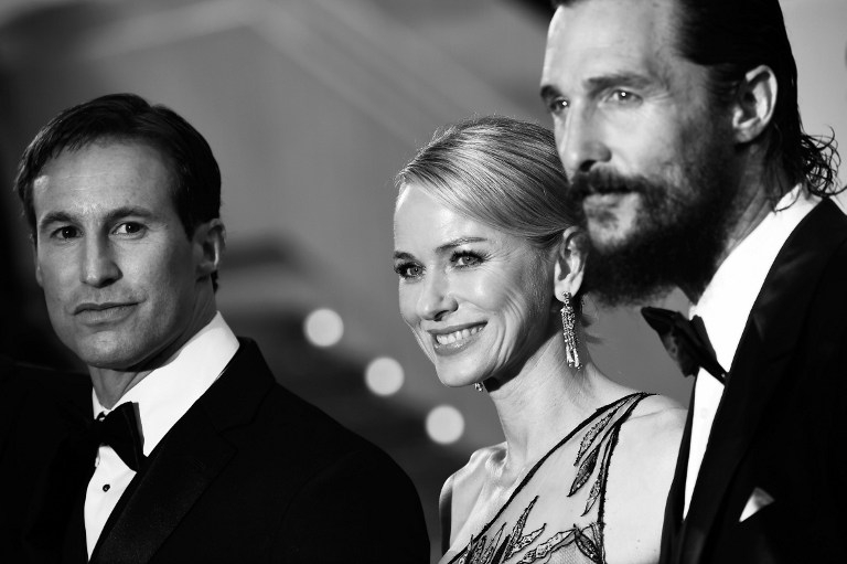 US writer-producer Chris Sparling and actors Naomi Watts and Matthew McConaughey arrive for the screening of 'The Sea of Trees' in Cannes on May 16, 2015
