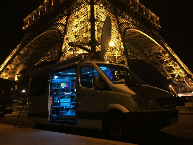 The AFPTV van beside the Eiffel Tower on January 8, 2015