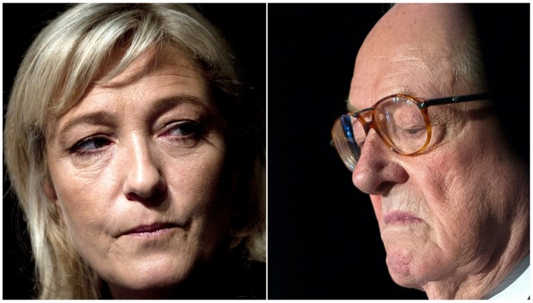 Marine Le Pen in January 2012, and Jean-Marie Le Pen in May 2014