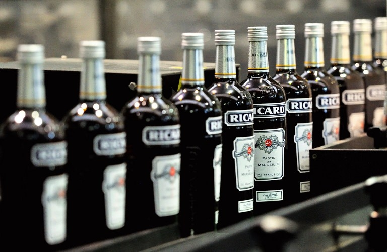 Bottles of Ricard on the bottling chain
