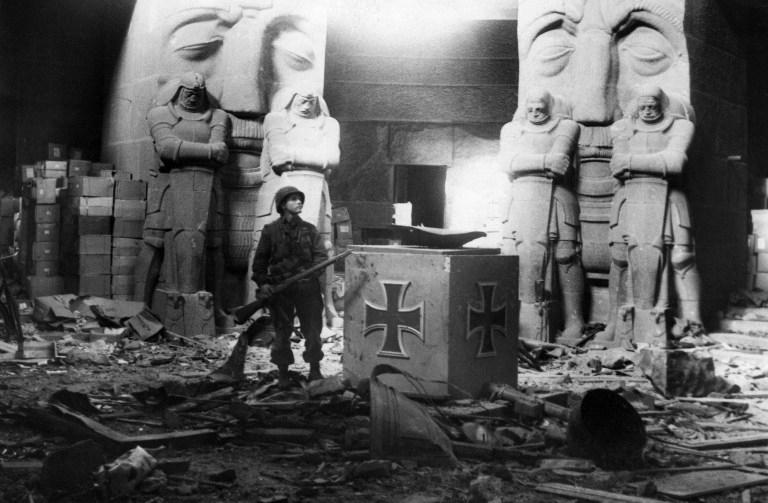 A US soldier in the Leipzig Monument commemorating the 1813 Battle against Napoleon, in April 1945