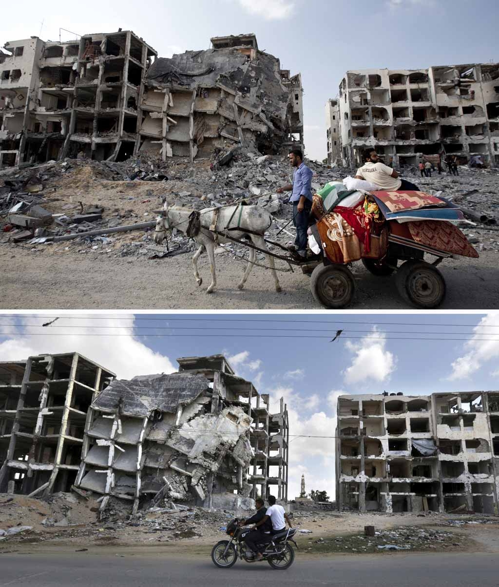 Palestinian men ridr a donkey cart past destroyed buildings in the northern Gaza Strip on August 5, 2014, and the same place