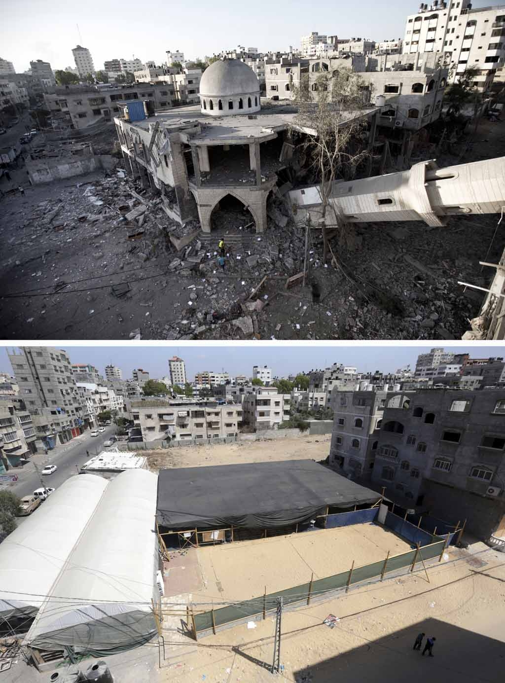 A collapsed minaret of a destroyed mosque in Gaza City on July 30, 2014, and the same place
