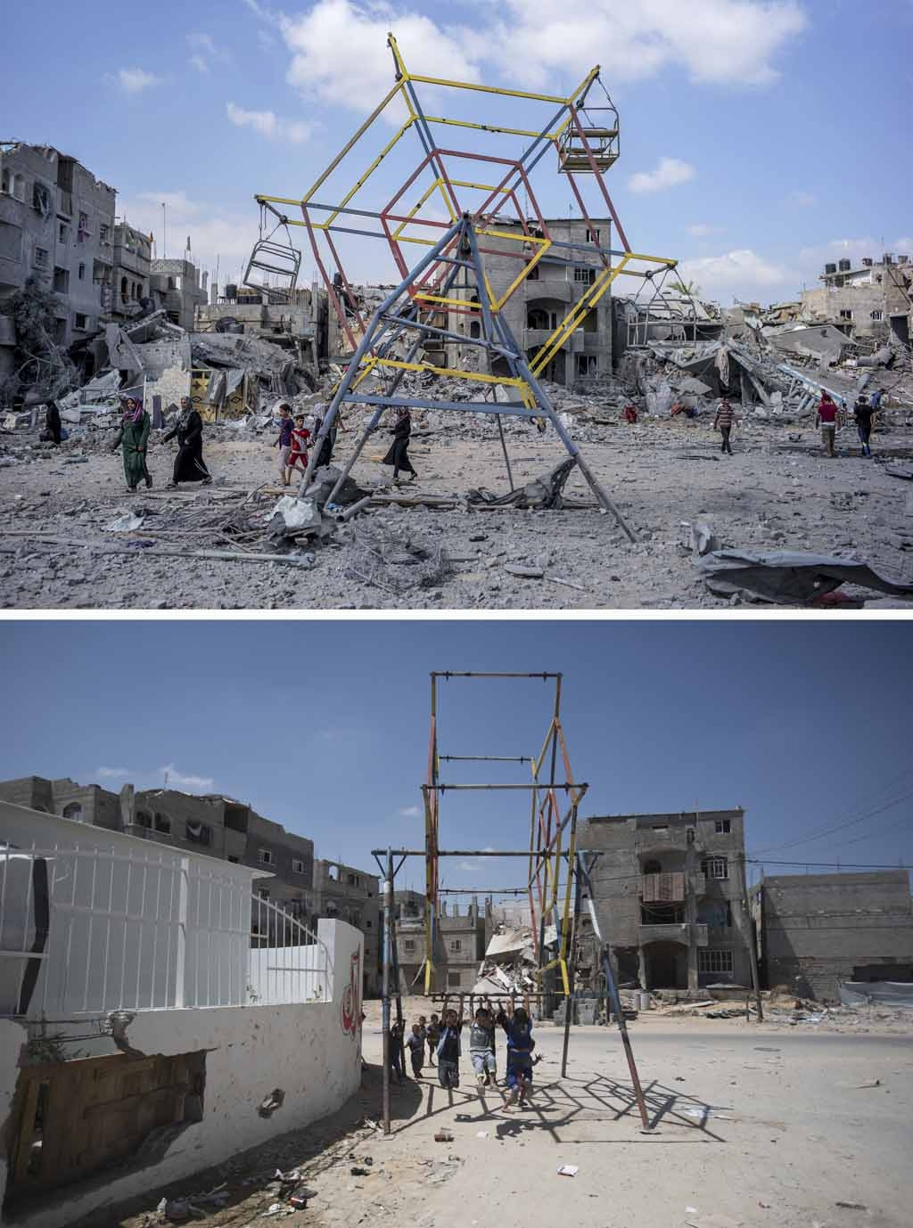 A ferris wheel and the rubble of buildings in the northern district of Beit Hanun in the Gaza Strip on July 26, 2014, and the same place