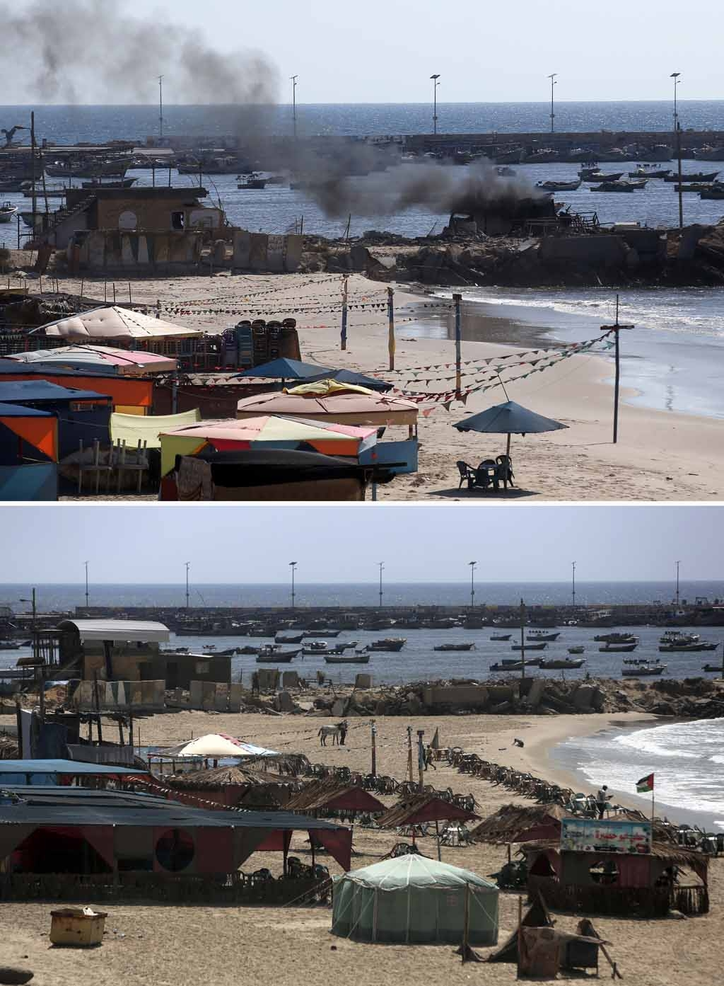 Smoke billowing from a beach shack in Gaza City following an Israeli military strike which killed four children on July 16, 2014, and the same place