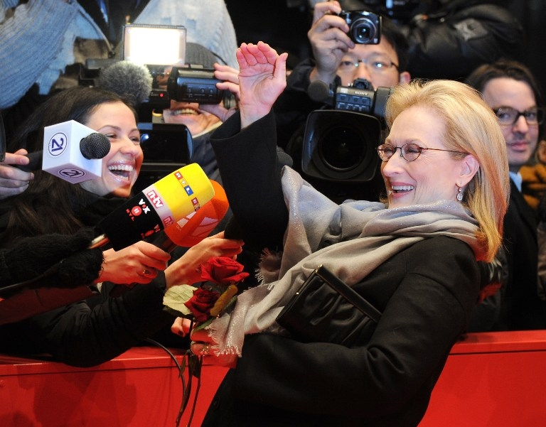 Meryl Streep is interviewed before the premiere of 'The Iron Lady' at the Berlinale on February 14, 2012