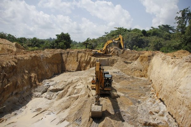 A small-scale gold mining site near Dunkwa-on-Offin, Ghana, in June 2013