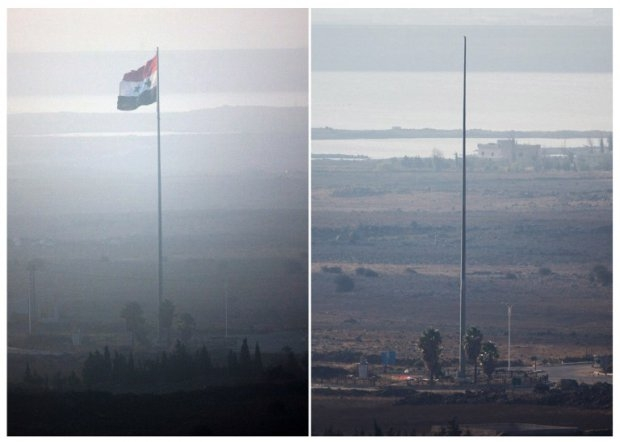 A Syrian flag near the Quneitra border crossing was removed by rebel fighters on September 1, 2014