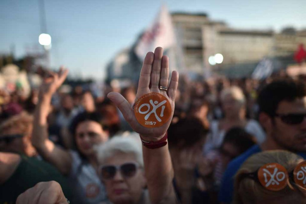 A sticker reads 'No' on the palm of a protester ahead of the Greek referendum, in Athens on July 3, 2015 (AFP PHOTO / ARIS MESSINIS)