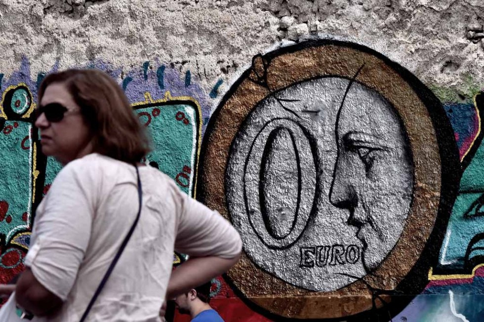 Graffiti in central Athens on June 27, 2015