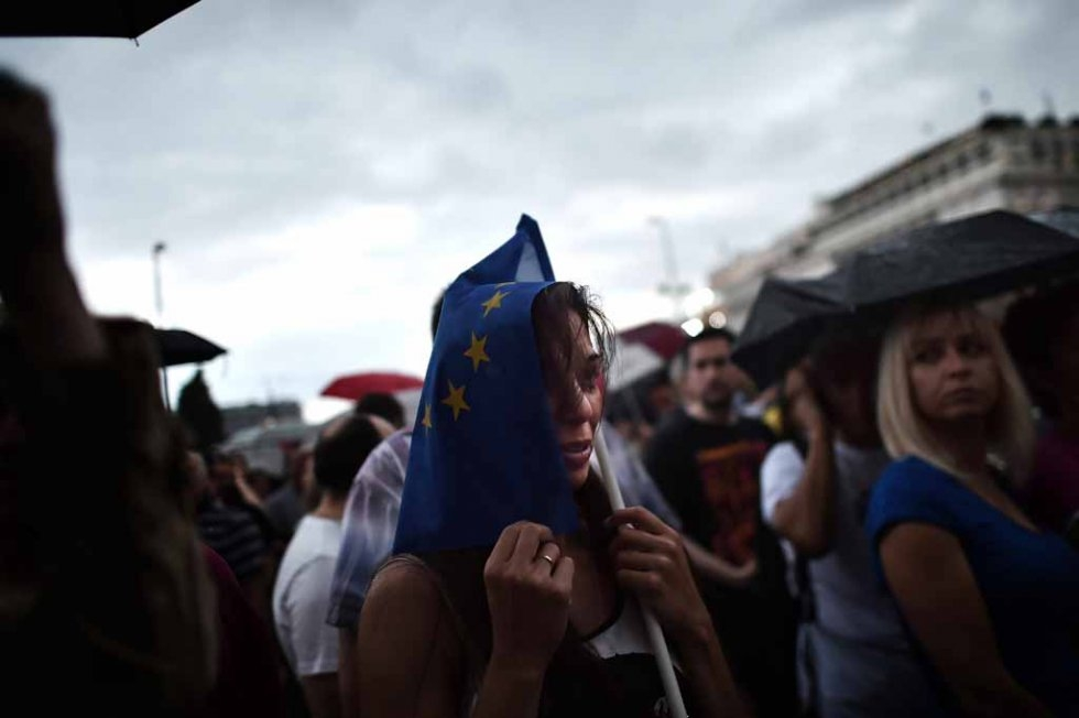 A pro-European Union demonstrator in front of the parliament in Athens on June 30, 2015