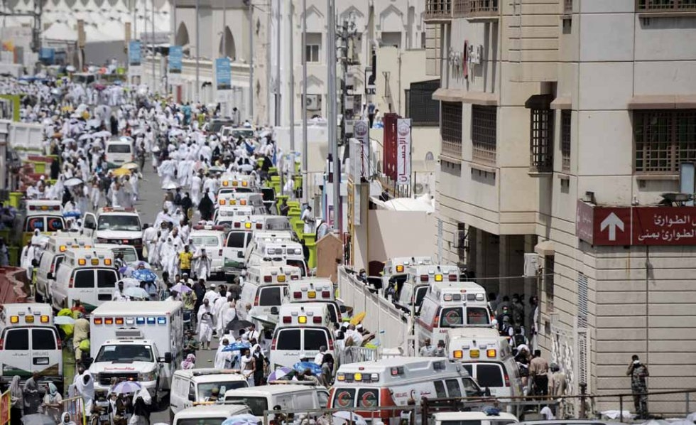 Ambulances with pilgrims injured in the stampede arrive at the Mina hospital.