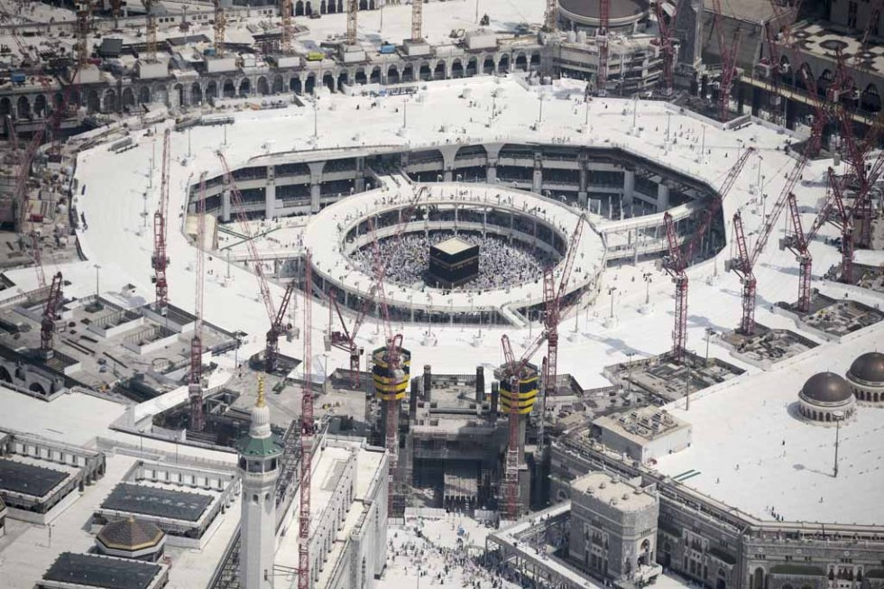 An aerial view shows the Grand Mosque in Mecca, where an accident with a crane left more than 100 dead this year.