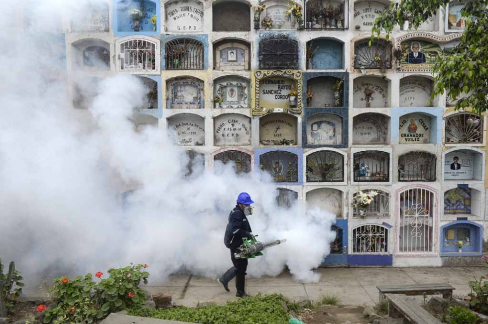 A graveyard is fumigated in Peru in an effort to prevent the spread of the Zika virus. January, 2016.