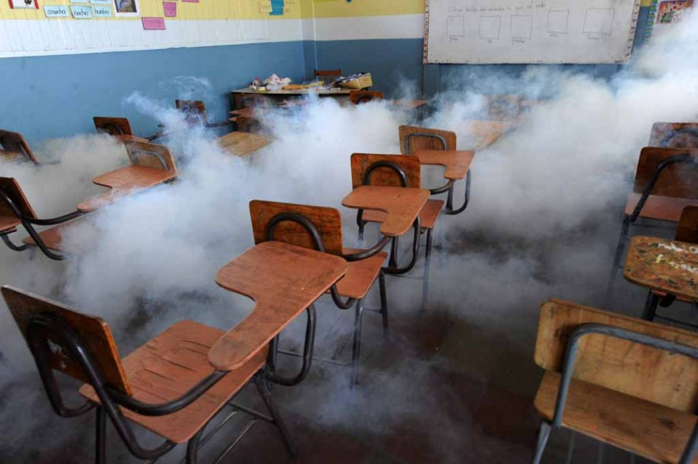 A classroom is fumigated against mosquitoes in Honduras. February, 2016.