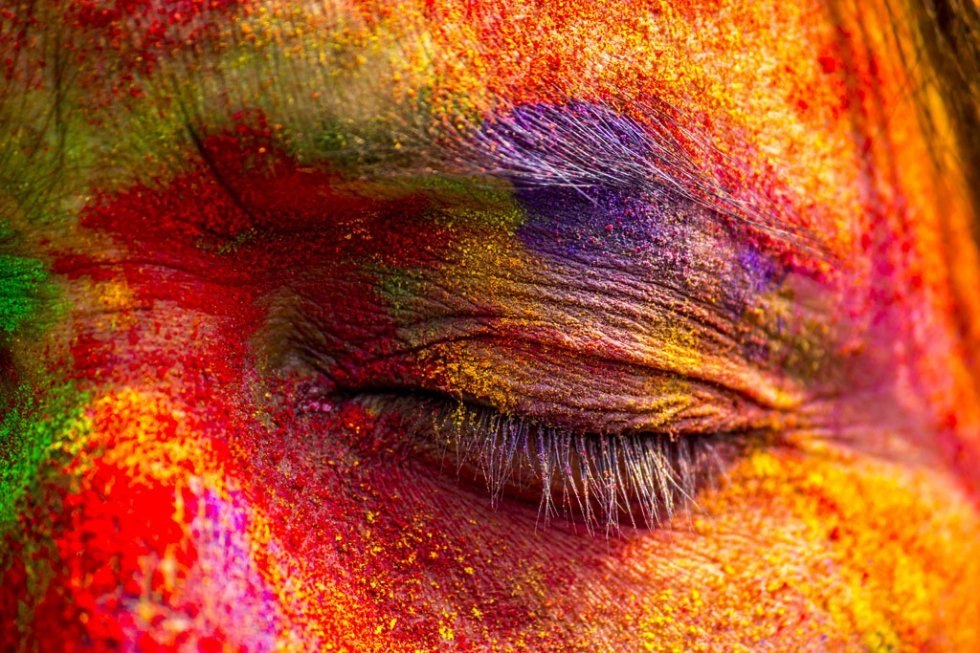 An Indian woman's face is smeared with colored powder during celebrations of the Holi festival in the Sivasagar district of northeastern Assam state on March 6, 2015 (AFP PHOTO)