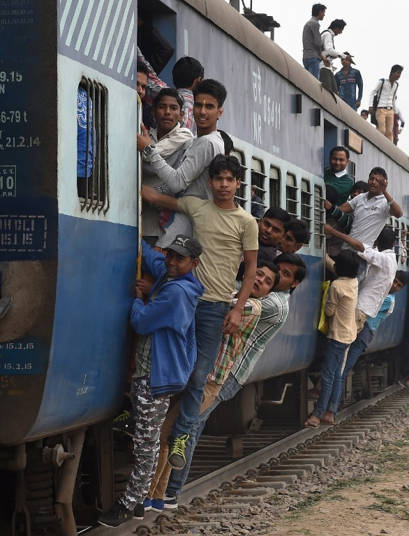 A train on the outskirts of New Delhi on February 25, 2015