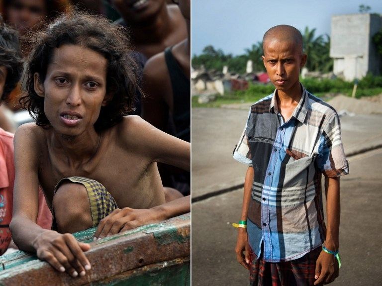 Yusuf, a 22-year-old Rohingya migrant from Myanmar, is seen on a boat drifting off the Thai coast on May 14, 2015, and at a camp in Bayeun in Indonesia's Aceh province on May 28, 2015