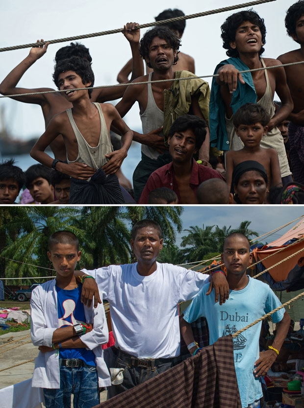 Rohingya men Muhammad Ayas, 13, Abdul Rasyid, 37, from Myanmar, and Zanggi, 19, from Bangladesh adrift in Thai waters on May 14, 2015 and at a camp in Indonesia on May 28, 2015
