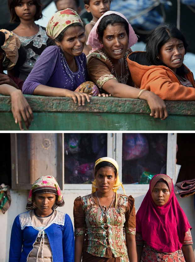 Combination shows Rohingya migrant women Sanuarbego, 18, Ambihatu, 21, and Husmahatun, 21, on a boat drifting off Thailand on May 14, 2015 and at a camp in Indonesia on May 28, 2015