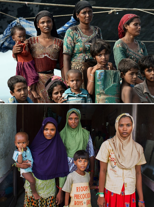 Rohingya migrant women Rubuza Hatu, 21, Rehana Begom, 24, and Rozama Hatu, 23, adrift in Thai waters on May 14, 2015 and at a camp in Indonesia on May 28, 2015