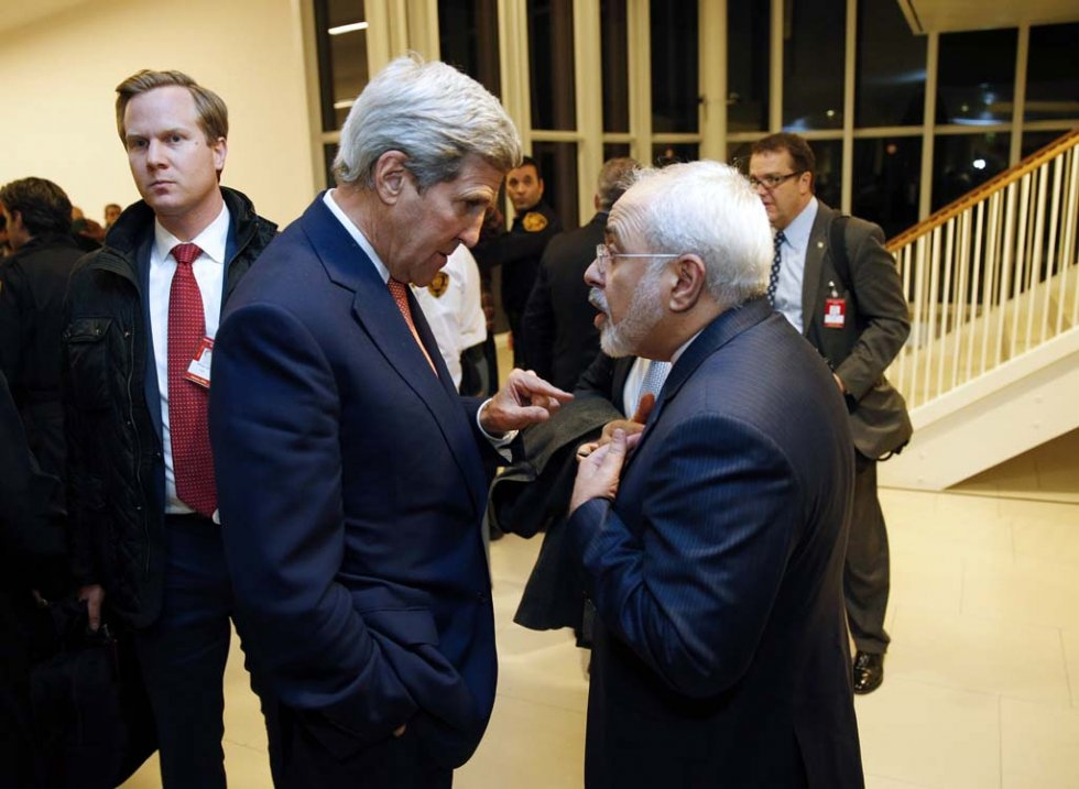 John Kerry and Mohammad Javad Zarif in Vienna. January 16, 2016.