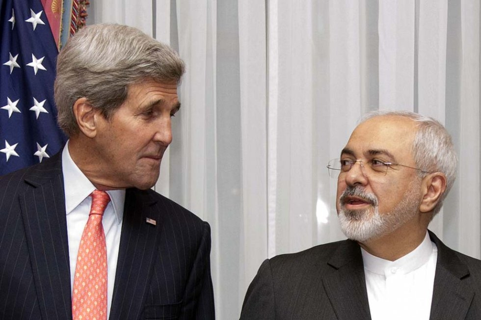 John Kerry and Mohammad Javad Zarif in Lausanne. March 16, 2015.
