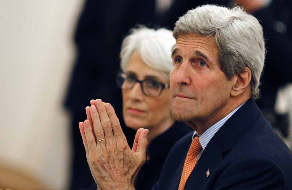 US Secretary of State John Kerry and Under Secretary for Political Affairs Wendy Sherman meet with foreign ministers taking part in the Iran nuclear talks in Vienna, Austria on July 7, 2015