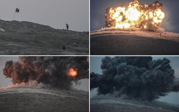 Militants of Islamic State group are seen just before and after an explosion from an air strike on Tilsehir hill near the Turkish-Syrian border on October 23, 2014 (AFP Photo / Bulent Kilic)