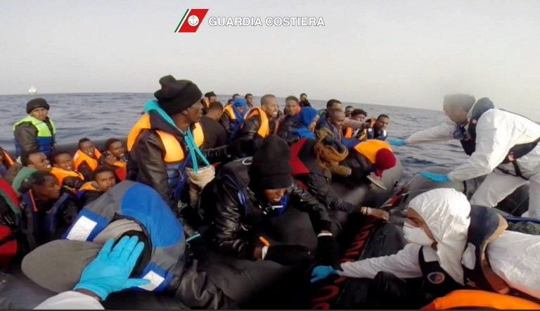 The Italian Coast Guard rescuing shipwrecked migrants on April 20, off the coast of Sicily