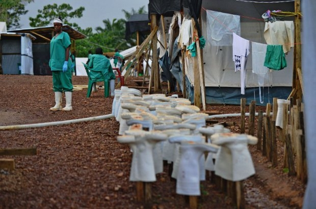 An MSF medical worker at an Ebola treatment facility in Kailahun, on August 14, 2014