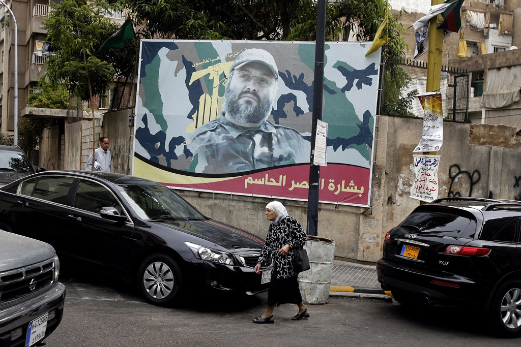 A billboard pays tribute to the Hezbollah military leader and mastermind of the hijacking of TWA Flight 847, Imad Mugniyah, in Beirut on September 26, 2008