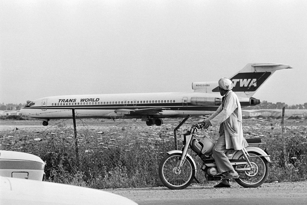The hijacked TWA Boeing, at Algiers airport on June 15, 1985