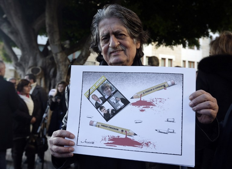 LEBANON-FRANCE-MEDIAS-ATTACKS-CHARLIE HEBDO-DEMO