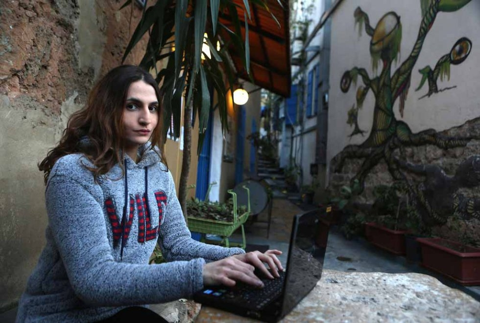 Sasha at a Beirut cafe. January, 2016.