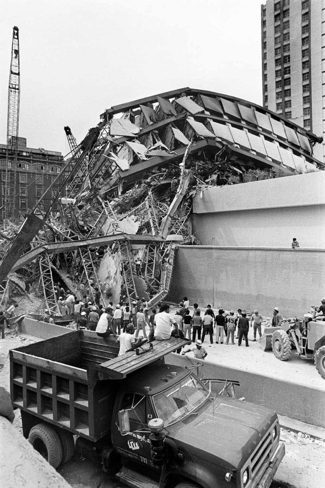 A collapsed building in Mexico City on September 19, 1985.