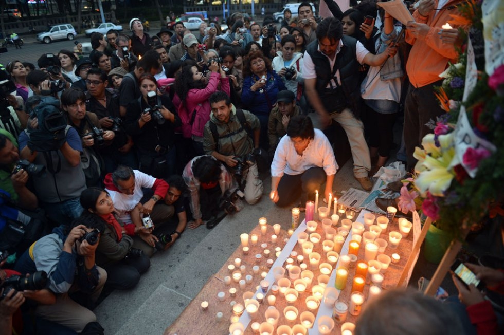 A vigil against violence against the press. Mexico City. May, 2012.