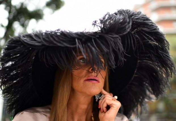 Vogue Japan's Italian editor-in-chief Anna Dello Russo arrives for a show on September 20