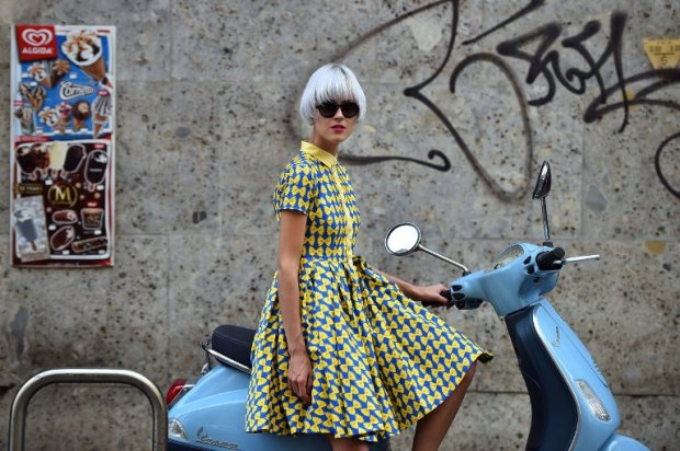 Fashion blogger Linda Tol poses in the street prior to a show on September 21